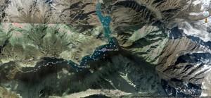 1st Attabad Lake, Hunza Valley, Google Earth